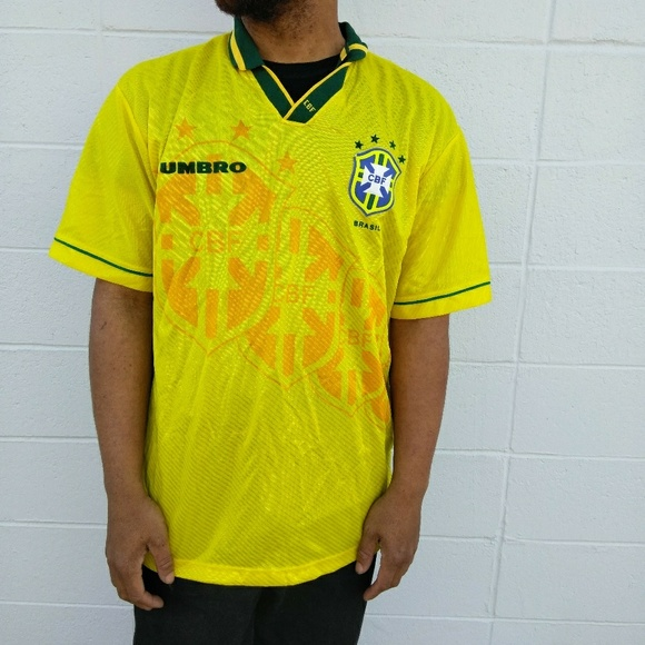 Vtg Umbro CBF Brasil Football Jersey mens Large